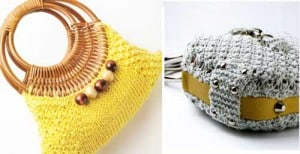 Sunshine and Ice Cube knitted bags in One Ball Knits: Purses