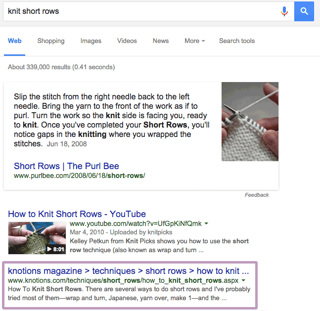 short rows first page google results