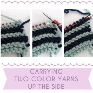 Two Color Knitting: Carrying Yarn Up the Side