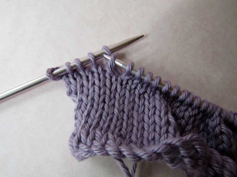 Shadow Wrap Short Rows: Step 1 RS