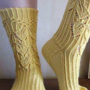 Smocked Leaves Sock