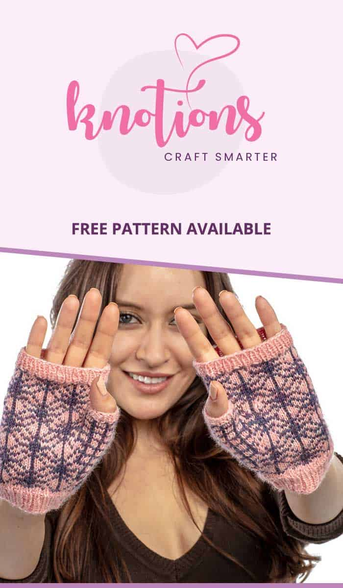 Free knit pattern for a pair of colorwork fingerless mitts with a spider web motif. Make them scary or feminine depending on the colors you choose!
