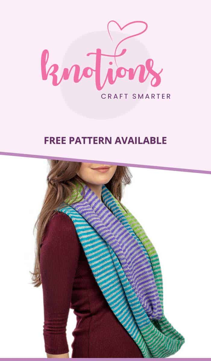 Free knit pattern for an infinity cowl with 2 colors of coordinating stripes for a beautiful effect! Great stashbuster or work up with a sample pack.