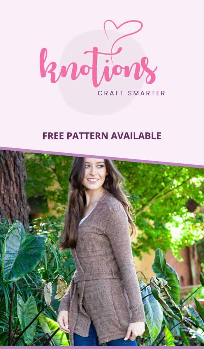 Free knitting pattern for a wrapped, kimono-style cardigan with a pretty texture stitch and belt. No buttons or zippers for you to wrestle with in this one!