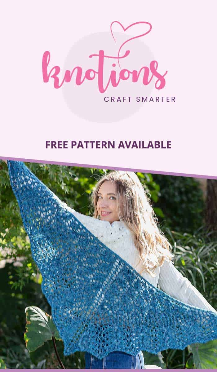 Free knitting pattern for a top-down triangle lace shawl using worsted weight yarn. Worked on larger needles, this shawl works up quickly!