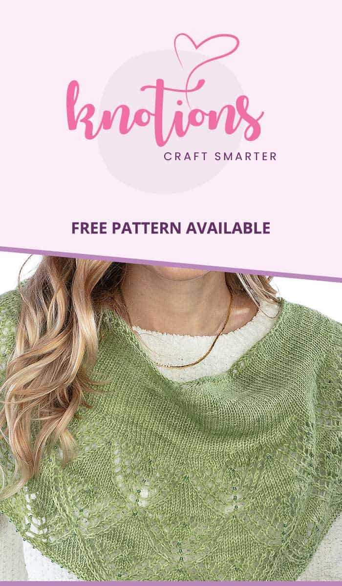 Free knitting pattern for a one-skein crescent shawl with lace and beads. The bottom-up lace transitions into stockinette stitch, creating a wearable piece.