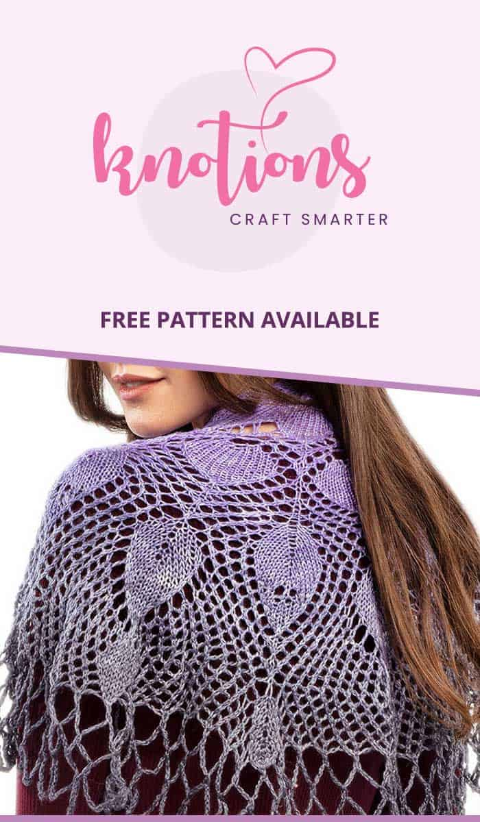 Free pattern for a knit shawl with lace and a loopy edge. Uses one skein of a fingering weight gradient yarn and links to many tutorials.