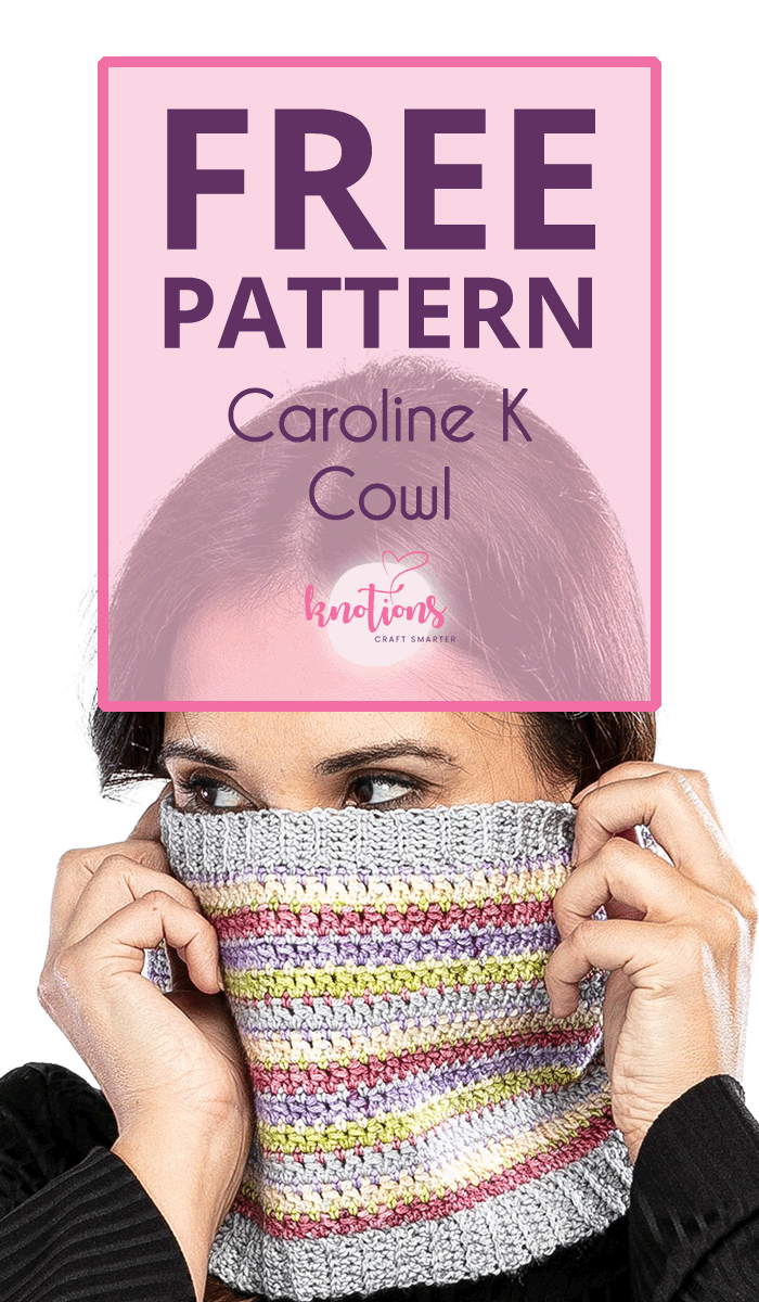 Free pattern for a striped crochet cowl using mini-skeins or scraps. Our unusual stitch pattern is easy to work and fun to make!