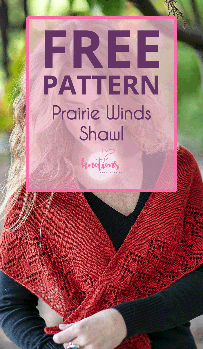 Free pattern for a crescent-shaped shawl with an eyelet stitch pattern on the edge. A great one-skein project for yourself or as a gift.