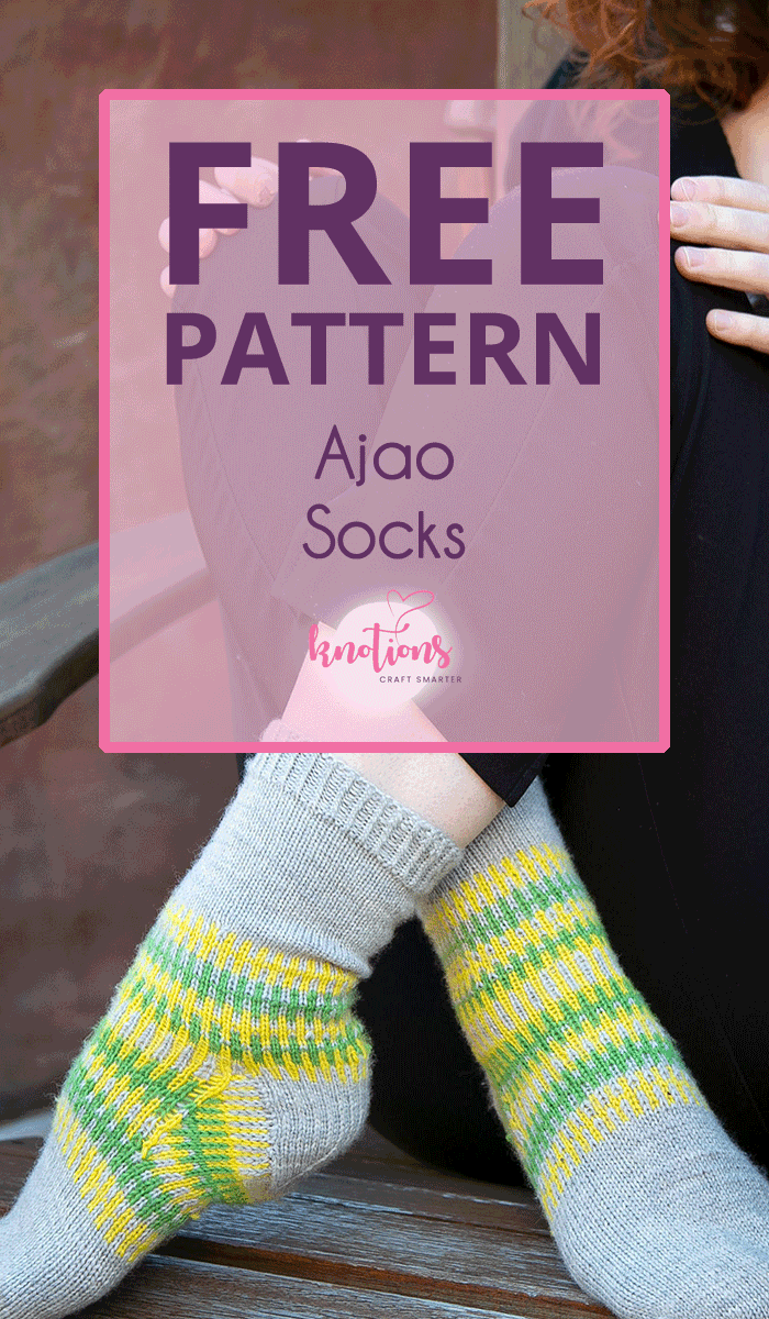 Free knitting pattern for a pair of socks! The simple colorwork pattern combines 3 colors of yarn (but 2 are only ever used on a single row).
