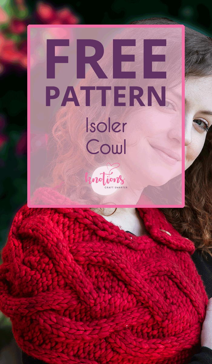 Free knitting pattern for an unusually-shaped cowl with a big cable and a button to keep it together.