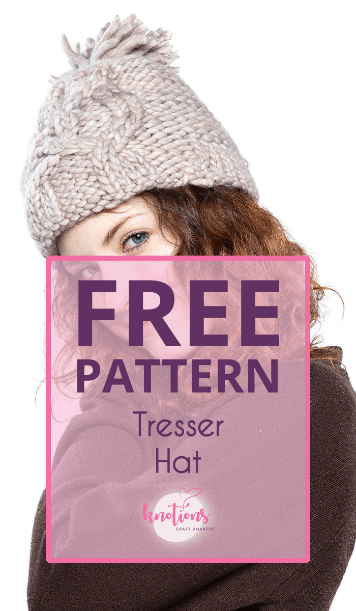 Free knitting pattern for a hat using super-bulky yarn and a cable running up the side/front/back. Purl stitch is used as a beautiful contrast.