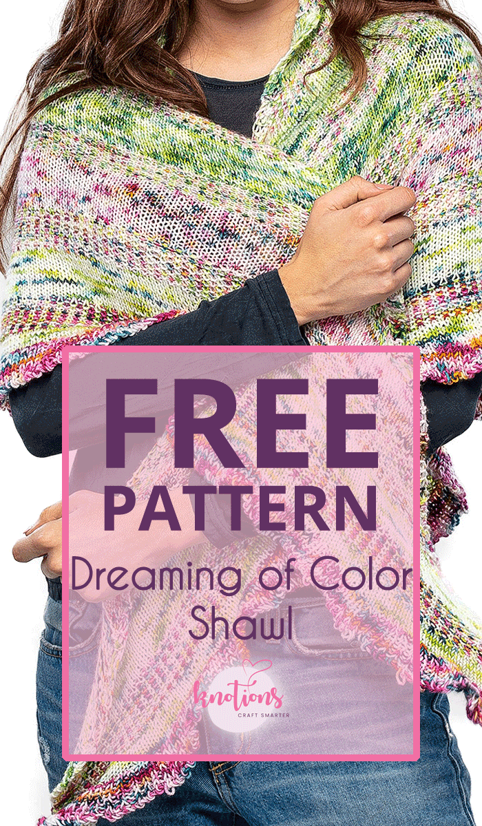 Free knitting pattern for a triangular shawl. It combines several colors of yarn (great for speckles!) and stitch patterns for beautiful, decorative effect. Wrap yourself in our shawl!
