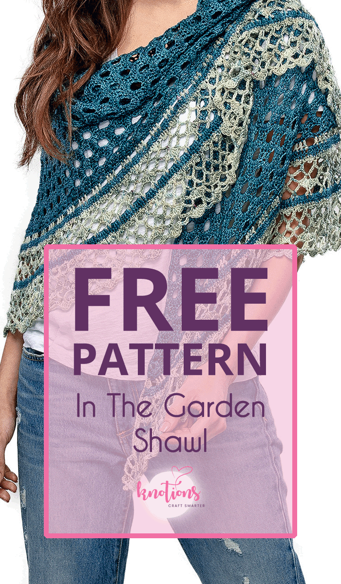 Free crochet pattern for a half-circle shawl. Using two colors, it will quickly work up with a pretty eyelet main section and a fun and frilly border.