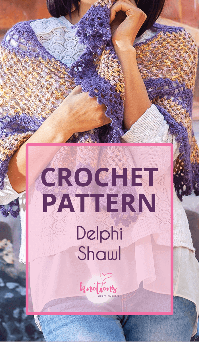 Crochet pattern for a shawl using 2 different yarns. One is in a pretty mesh stitch and the other is in a gorgeous lace stitch.